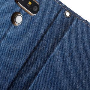 Canvas PU kožené/textilní pouzdro na LG G5 - modré - 7
