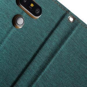Canvas PU kožené/textilní pouzdro na LG G5 - zelené - 7
