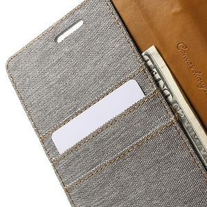 Canvas PU kožené/textilní pouzdro na LG G5 - šedé - 7