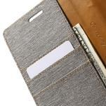 Canvas PU kožené/textilní pouzdro na LG G5 - šedé - 7/7