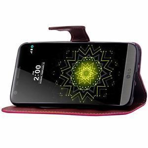 Leaf PU kožené pouzdro na LG G5 - rose - 7