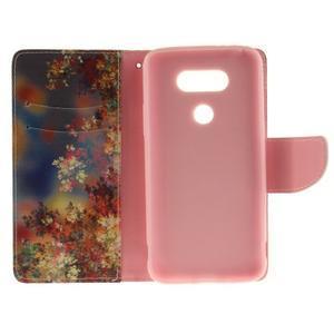 Obrázkové koženkové pouzdro na LG G5 - malované listí - 7