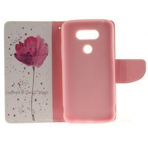 Obrázkové koženkové pouzdro na LG G5 - mák - 7