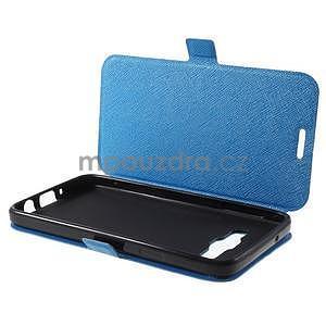 Klopové PU kožené pouzdro na Samsung Galaxy A3 - modré - 7