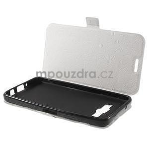 Klopové PU kožené pouzdro na Samsung Galaxy A3 - bílé - 7