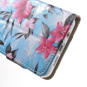 Květinové peněženkové pouzdro na Samsung Galaxy A5 (2016) - modré - 7