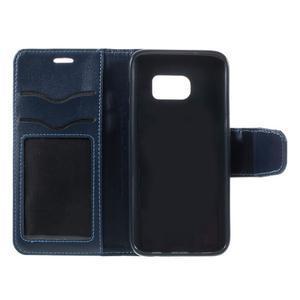 Rich PU kožené peněženkové pouzdro na Samsung Galaxy S7 - tmavěmodré - 7
