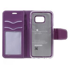 Rich PU kožené peněženkové pouzdro na Samsung Galaxy S7 - fialové - 7