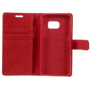 Moon PU kožené pouzdro na mobil Samsung Galaxy S7 - červené - 7