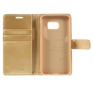 Moon PU kožené pouzdro na mobil Samsung Galaxy S7 - zlaté - 7