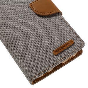 Canvas PU kožené/textilní pouzdro na Samsung Galaxy S7 - šedé - 7