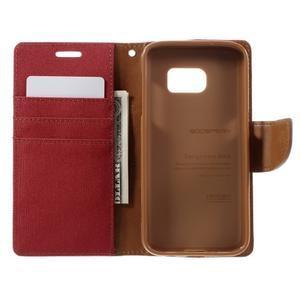 Canvas PU kožené/textilní pouzdro na Samsung Galaxy S7 - červené - 7
