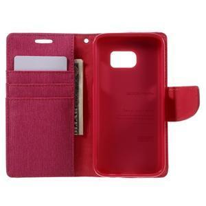 Canvas PU kožené/textilní pouzdro na Samsung Galaxy S7 - rose - 7