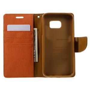 Canvas PU kožené/textilní pouzdro na Samsung Galaxy S7 - oranžové - 7