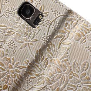 Květinové pěněženkové pouzdro na Samsung Galaxy S7 - béžovobílé - 7