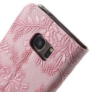 Květinové pěněženkové pouzdro na Samsung Galaxy S7 - růžové - 7