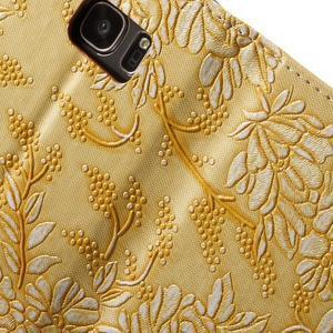 Květinové pěněženkové pouzdro na Samsung Galaxy S7 - žluté - 7