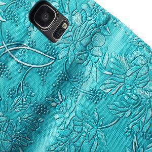 Květinové pěněženkové pouzdro na Samsung Galaxy S7 - modré - 7