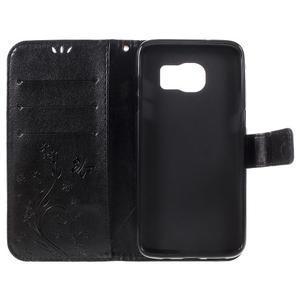 Butterfly PU kožené pouzdro na Samsung Galaxy S7 edge - černé - 7