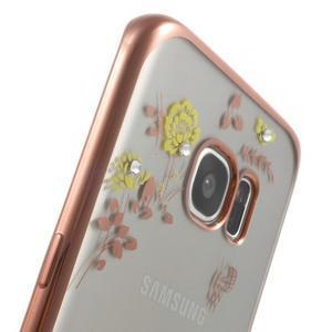 Nice gelový obal s kamínky na Samsung Galaxy S7 edge - žluté květiny - 7