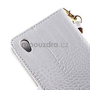 Bílé PU kožené pouzdro aligátor pro Sony Xperia M4 Aqua - 7