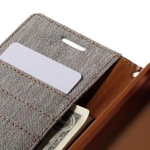 Canvas PU kožené/textilní pouzdro na Sony Xperia Z5 - šedé - 7