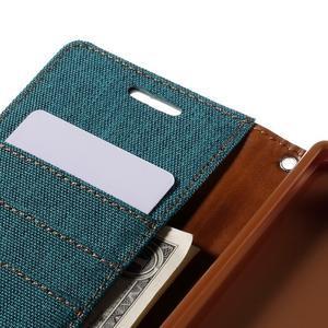 Canvas PU kožené/textilní pouzdro na Sony Xperia Z5 - zelené - 7