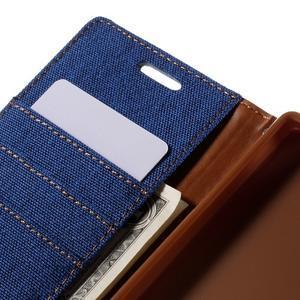 Canvas PU kožené/textilní pouzdro na Sony Xperia Z5 - modré - 7