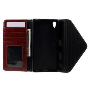 Stylové peněženkové pouzdro Sony Xperia Z5 - černé/hnědé - 7