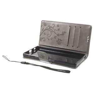 Butterfly PU kožené pouzdro na Sony Xperia Z5 - šedé - 7