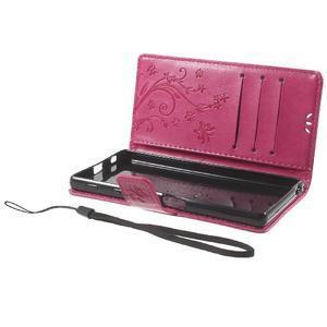 Butterfly PU kožené pouzdro na Sony Xperia Z5 - rose - 7