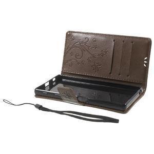 Butterfly PU kožené puzdro pre Sony Xperia Z5 - coffee - 7