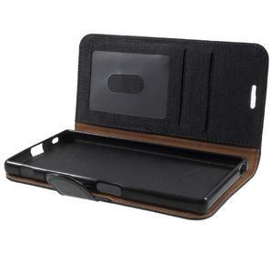 Grid PU kožené pouzdro na Sony Xperia Z5 - černé - 7