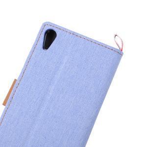 Cloth textilní/koženkové pouzdro na Sony Xperia Z5 - světlemodré - 7