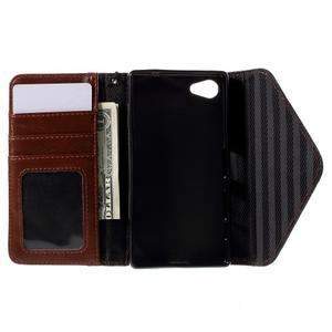 Stylové peněženkové pouzdro na Sony Xperia Z5 Compact - hnědé/černé - 7
