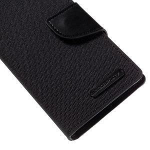 Canvas PU kožené/textilní pouzdro na Sony Xperia Z5 Compact - černé - 7
