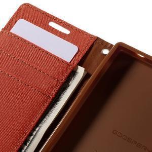 Canvas PU kožené/textilní pouzdro na Sony Xperia Z5 Compact - oranžové - 7