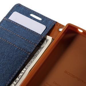 Canvas PU kožené/textilní pouzdro na Sony Xperia Z5 Compact - modré - 7