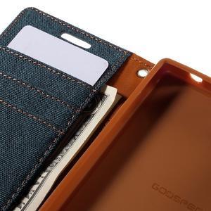 Canvas PU kožené/textilní pouzdro na Sony Xperia Z5 Compact - tmavěmodré - 7
