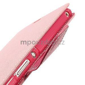 Peněženkové PU kožené pouzdro na Sony Z Ultra - růžové - 7
