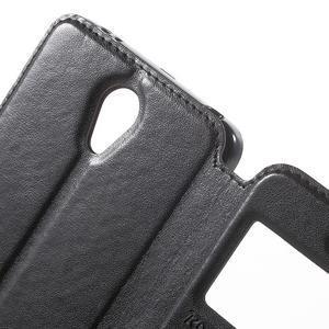 View PU kožené pouzdro s okýnkem na Xiaomi Redmi Note 2 - černé - 7
