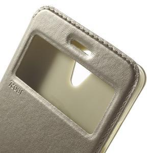 View PU kožené pouzdro s okýnkem na Xiaomi Redmi Note 2 - zlaté - 7