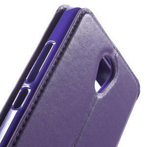 View PU kožené pouzdro s okýnkem na Xiaomi Redmi Note 2 - fialové - 7
