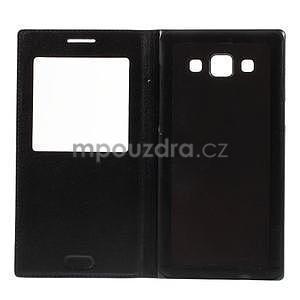 PU kožené pouzdro s okýnkem na Samsung Galaxy A5 - černé - 7