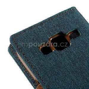 Stylové textilní/PU kožené pouzdro na Samsung Galaxy Core Prime - zelenomodré - 7