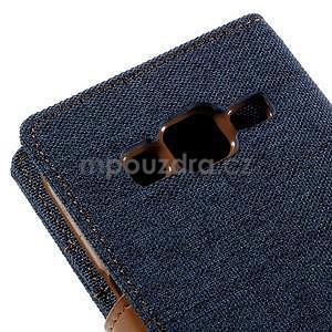 Stylové textilní/PU kožené pouzdro na Samsung Galaxy Core Prime - modré - 7