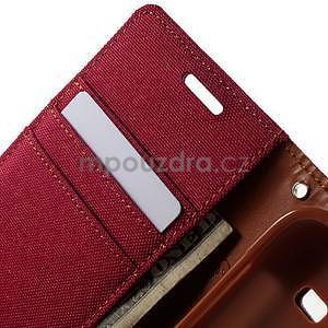 Stylové textilní/PU kožené pouzdro na Samsung Galaxy Core Prime - červené - 7