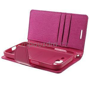 Stylové textilní/PU kožené pouzdro na Samsung Galaxy Core Prime - růžové - 7
