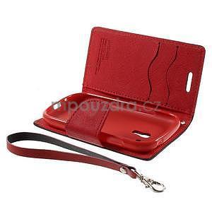 Diary peněženkové pouzdro na mobil Samsung Galaxy S3 mini - černé/červené - 7