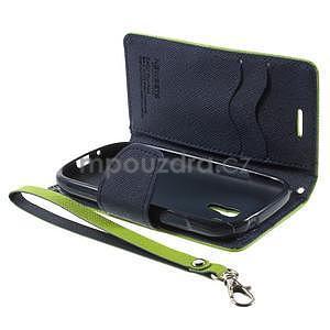 Diary peněženkové pouzdro na mobil Samsung Galaxy S3 mini - zelené/tmavěmodré - 7